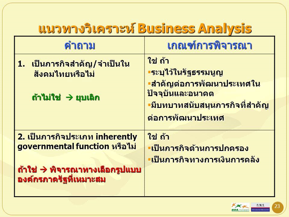 23 แนวทางวิเคราะห์ Business Analysis คำถามเกณฑ์การพิจารณา 1. เป็นภารกิจสำคัญ/จำเป็นใน สังคมไทยหรือไม่ ถ้าไม่ใช่  ยุบเลิก ถ้าไม่ใช่  ยุบเลิก ใช่ ถ้า