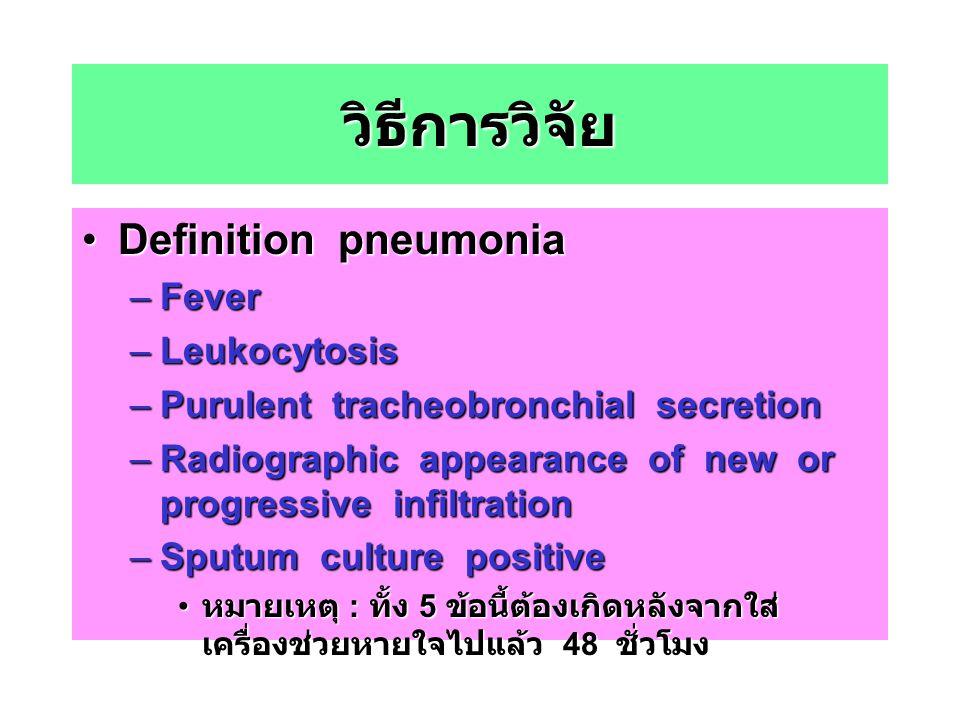 วิธีการวิจัย Definition pneumoniaDefinition pneumonia –Fever –Leukocytosis –Purulent tracheobronchial secretion –Radiographic appearance of new or pro