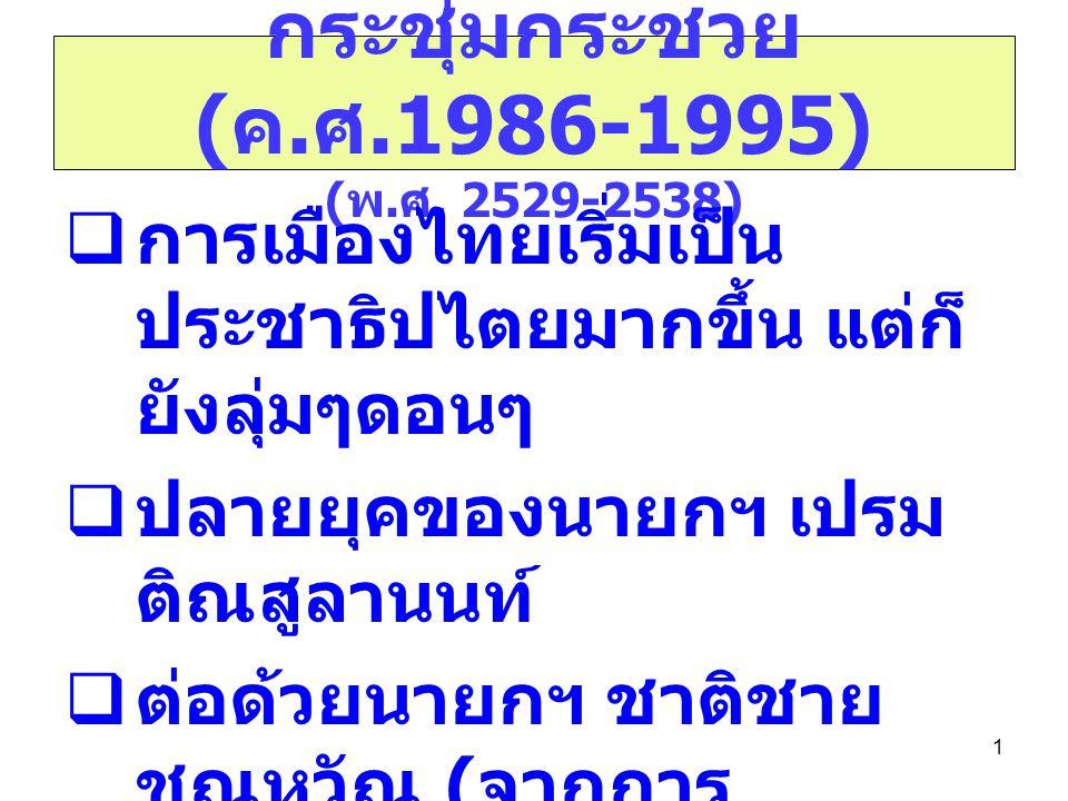 1 กระชุ่มกระชวย ( ค. ศ.1986-1995) ( พ. ศ. 2529-2538)  การเมืองไทยเริ่มเป็น ประชาธิปไตยมากขึ้น แต่ก็ ยังลุ่มๆดอนๆ  ปลายยุคของนายกฯ เปรม ติณสูลานนท์ 