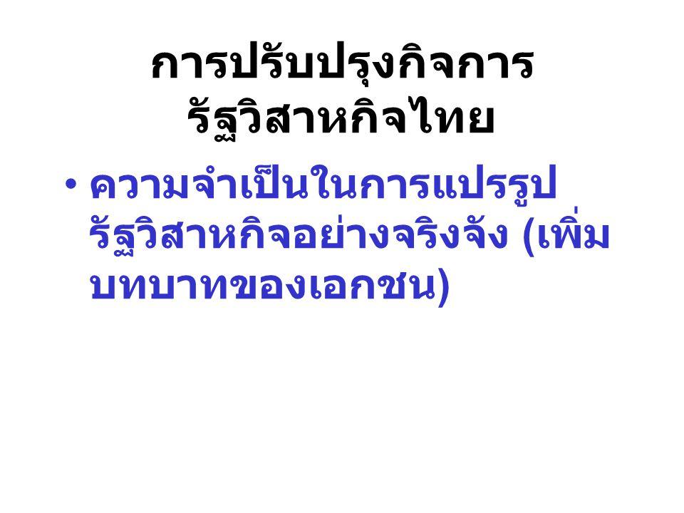 ความจำเป็นในการแปรรูป รัฐวิสาหกิจอย่างจริงจัง ( เพิ่ม บทบาทของเอกชน ) การปรับปรุงกิจการ รัฐวิสาหกิจไทย