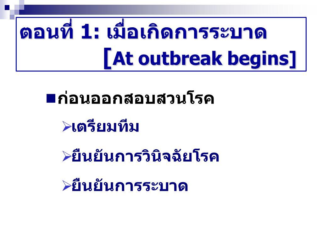 ตอนที่ 1: เมื่อเกิดการระบาด [ At outbreak begins] ก่อนออกสอบสวนโรค  เตรียมทีม  ยืนยันการวินิจฉัยโรค  ยืนยันการระบาด