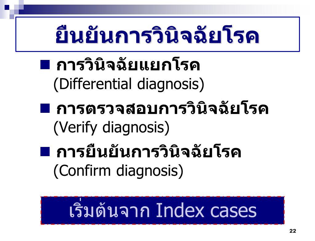 22 ยืนยันการวินิจฉัยโรค การวินิจฉัยแยกโรค (Differential diagnosis) การตรวจสอบการวินิจฉัยโรค (Verify diagnosis) การยืนยันการวินิจฉัยโรค (Confirm diagno
