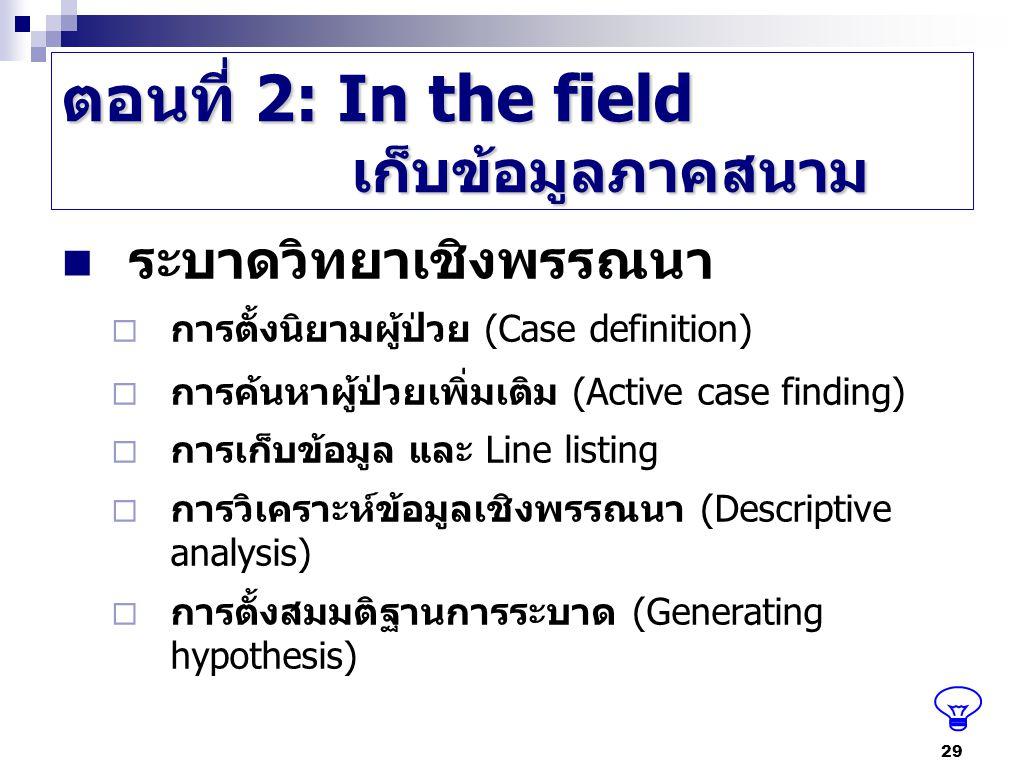 ตอนที่ 2: In the field เก็บข้อมูลภาคสนาม ระบาดวิทยาเชิงพรรณนา  การตั้งนิยามผู้ป่วย (Case definition)  การค้นหาผู้ป่วยเพิ่มเติม (Active case finding)