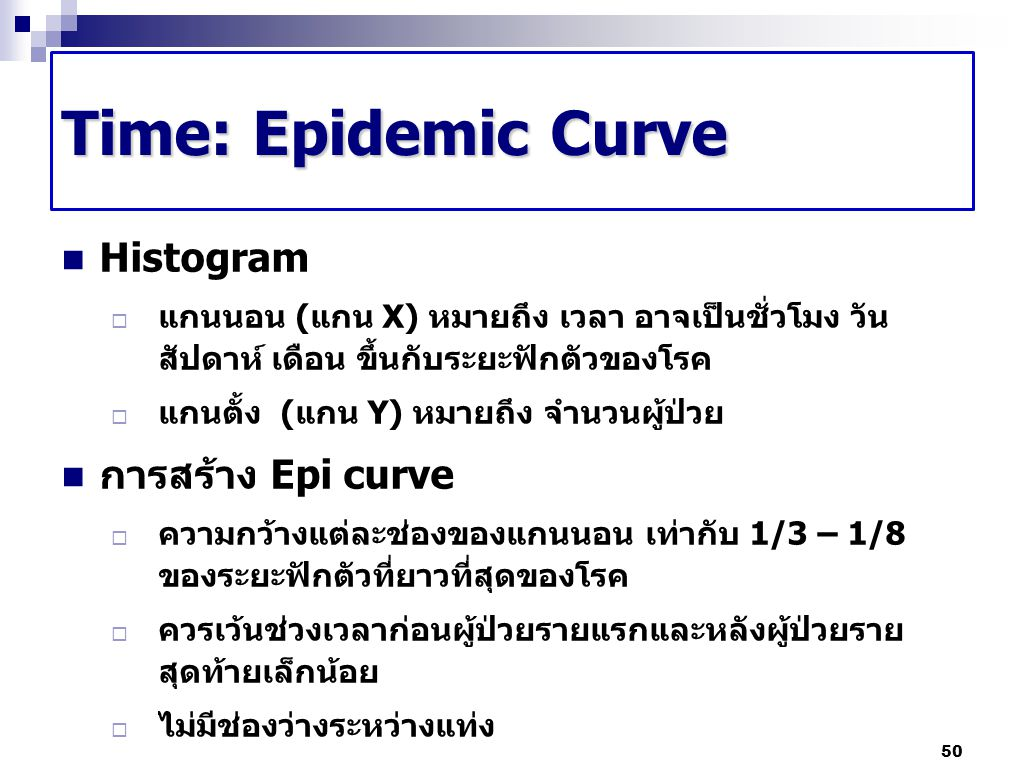 Time: Epidemic Curve Histogram  แกนนอน (แกน X) หมายถึง เวลา อาจเป็นชั่วโมง วัน สัปดาห์ เดือน ขึ้นกับระยะฟักตัวของโรค  แกนตั้ง (แกน Y) หมายถึง จำนวนผ