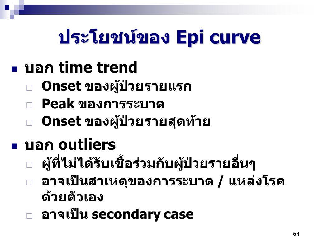 51 ประโยชน์ของ Epi curve บอก time trend  Onset ของผู้ป่วยรายแรก  Peak ของการระบาด  Onset ของผู้ป่วยรายสุดท้าย บอก outliers  ผู้ที่ไม่ได้รับเชื้อร่