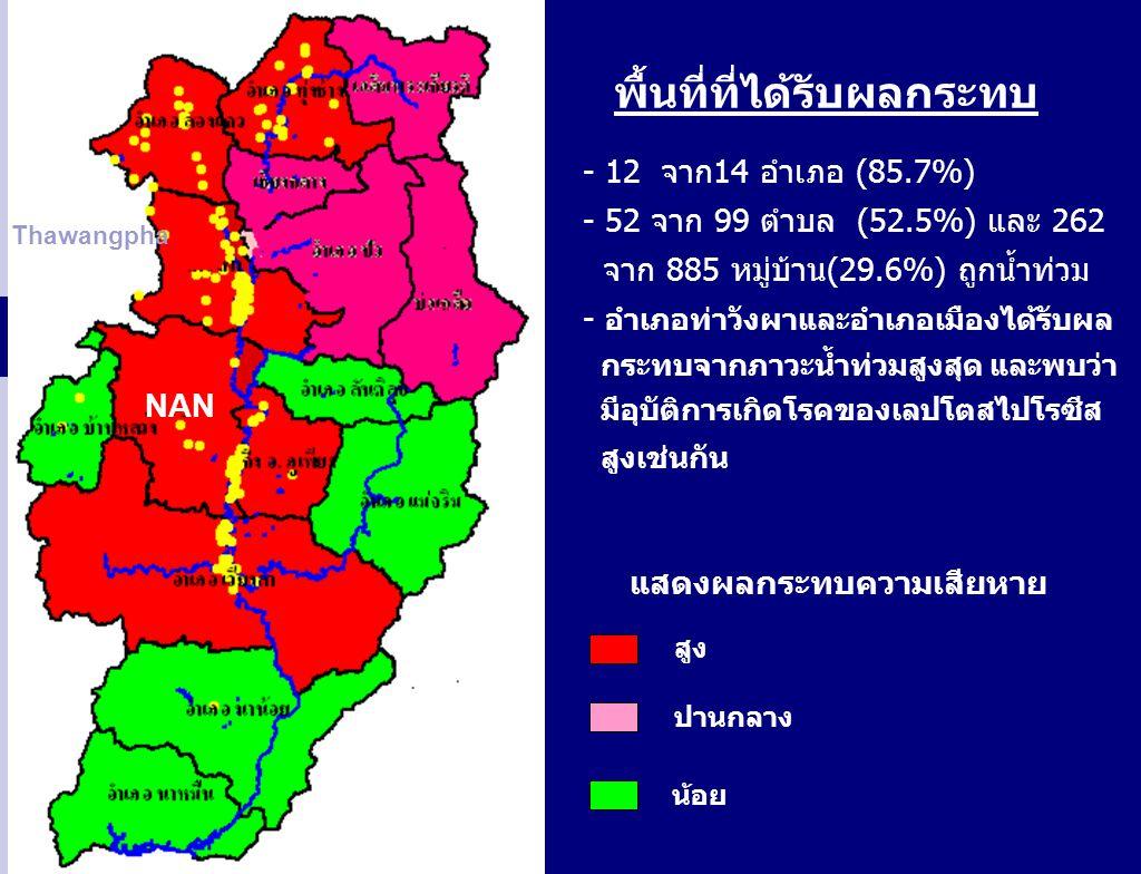 พื้นที่ที่ได้รับผลกระทบ - 12 จาก14 อำเภอ (85.7%) - 52 จาก 99 ตำบล (52.5%) และ 262 จาก 885 หมู่บ้าน(29.6%) ถูกน้ำท่วม - อำเภอท่าวังผาและอำเภอเมืองได้รั