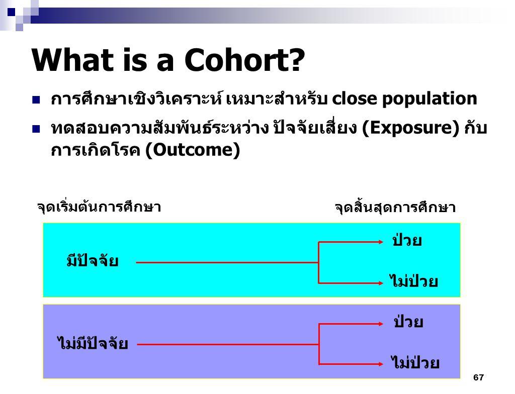 67 What is a Cohort? การศึกษาเชิงวิเคราะห์ เหมาะสำหรับ close population ทดสอบความสัมพันธ์ระหว่าง ปัจจัยเสี่ยง (Exposure) กับ การเกิดโรค (Outcome) จุดเ