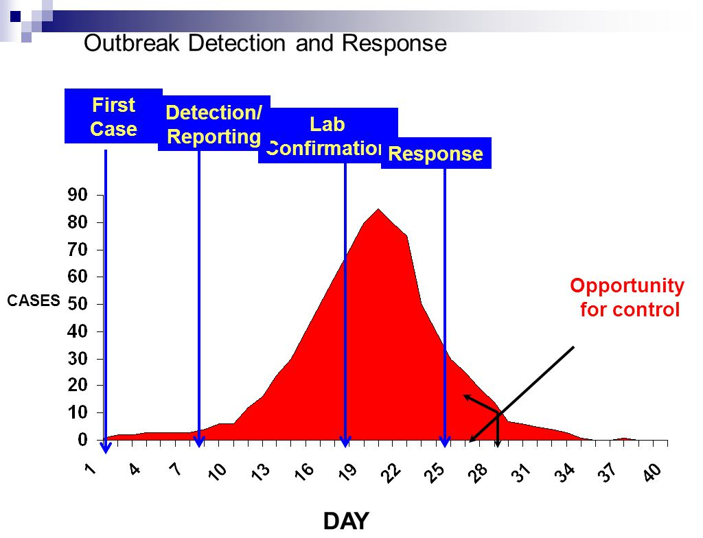 DAY CASES Lab Confirmation Outbreak Detection and Response Response Opportunity for control Detection/ Reporting First Case