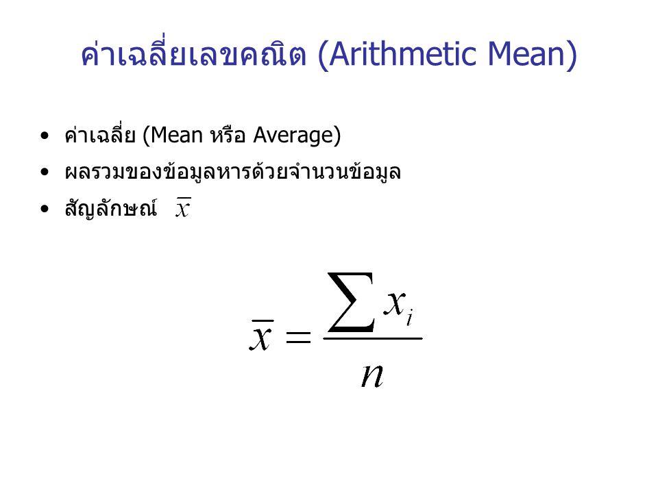 ค่าเฉลี่ยเลขคณิต (Arithmetic Mean) ค่าเฉลี่ย (Mean หรือ Average) ผลรวมของข้อมูลหารด้วยจำนวนข้อมูล สัญลักษณ์