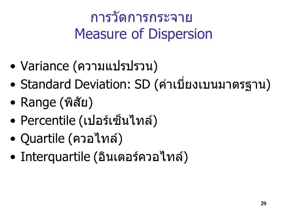 29 การวัดการกระจาย Measure of Dispersion Variance (ความแปรปรวน) Standard Deviation: SD (ค่าเบี่ยงเบนมาตรฐาน) Range (พิสัย) Percentile (เปอร์เซ็นไทล์)