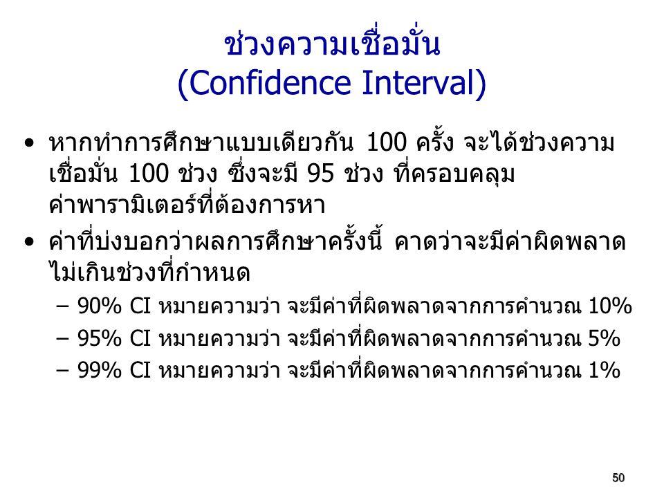 50 ช่วงความเชื่อมั่น (Confidence Interval) หากทำการศึกษาแบบเดียวกัน 100 ครั้ง จะได้ช่วงความ เชื่อมั่น 100 ช่วง ซึ่งจะมี 95 ช่วง ที่ครอบคลุม ค่าพารามิเ