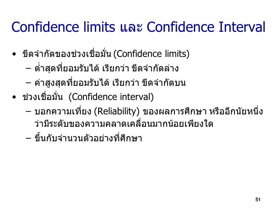 51 Confidence limits และ Confidence Interval ขีดจำกัดของช่วงเชื่อมั่น (Confidence limits) –ต่ำสุดที่ยอมรับได้ เรียกว่า ขีดจำกัดล่าง –ค่าสูงสุดที่ยอมรั