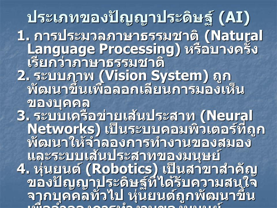 ประเภทของปัญญาประดิษฐ์ (AI) 1.