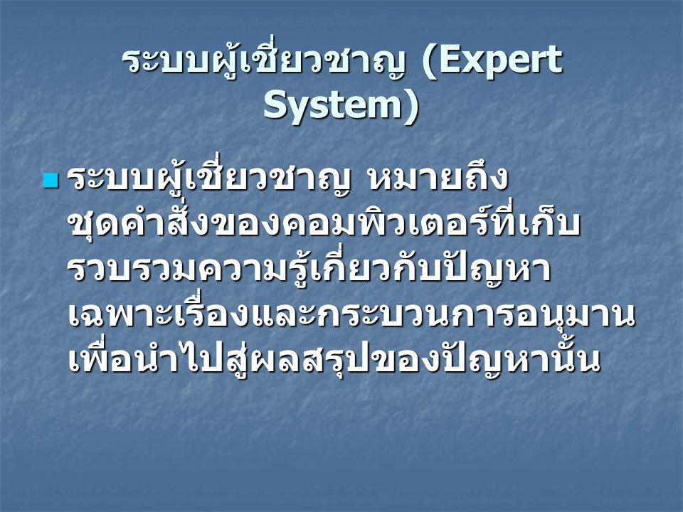ระบบผู้เชี่ยวชาญ (Expert System) ระบบผู้เชี่ยวชาญ หมายถึง ชุดคำสั่งของคอมพิวเตอร์ที่เก็บ รวบรวมความรู้เกี่ยวกับปัญหา เฉพาะเรื่องและกระบวนการอนุมาน เพื่อนำไปสู่ผลสรุปของปัญหานั้น ระบบผู้เชี่ยวชาญ หมายถึง ชุดคำสั่งของคอมพิวเตอร์ที่เก็บ รวบรวมความรู้เกี่ยวกับปัญหา เฉพาะเรื่องและกระบวนการอนุมาน เพื่อนำไปสู่ผลสรุปของปัญหานั้น