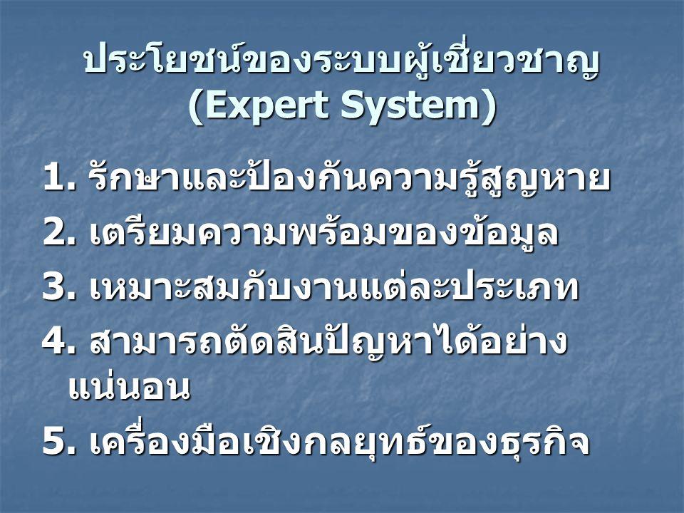 ประโยชน์ของระบบผู้เชี่ยวชาญ (Expert System) 1.รักษาและป้องกันความรู้สูญหาย 2.
