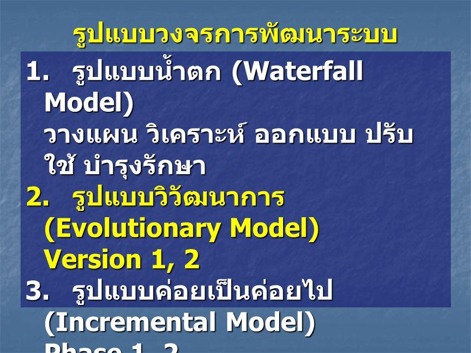 รูปแบบวงจรการพัฒนาระบบ 1. รูปแบบน้ำตก (Waterfall Model) วางแผน วิเคราะห์ ออกแบบ ปรับ ใช้ บำรุงรักษา 2. รูปแบบวิวัฒนาการ (Evolutionary Model) Version 1