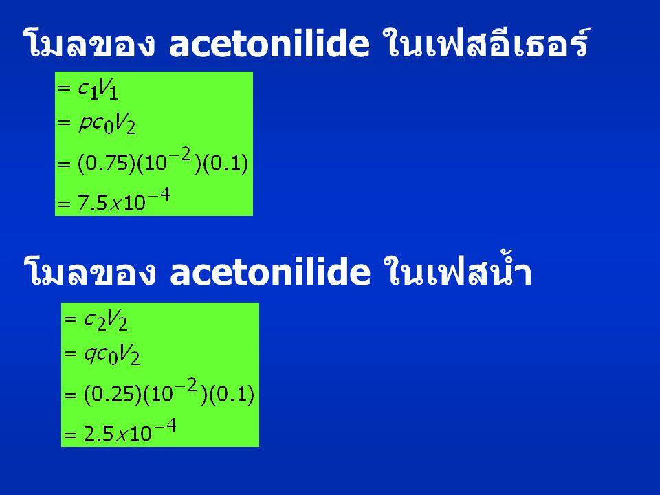 โมลของ acetonilide ในเฟสอีเธอร์ โมลของ acetonilide ในเฟสน้ำ