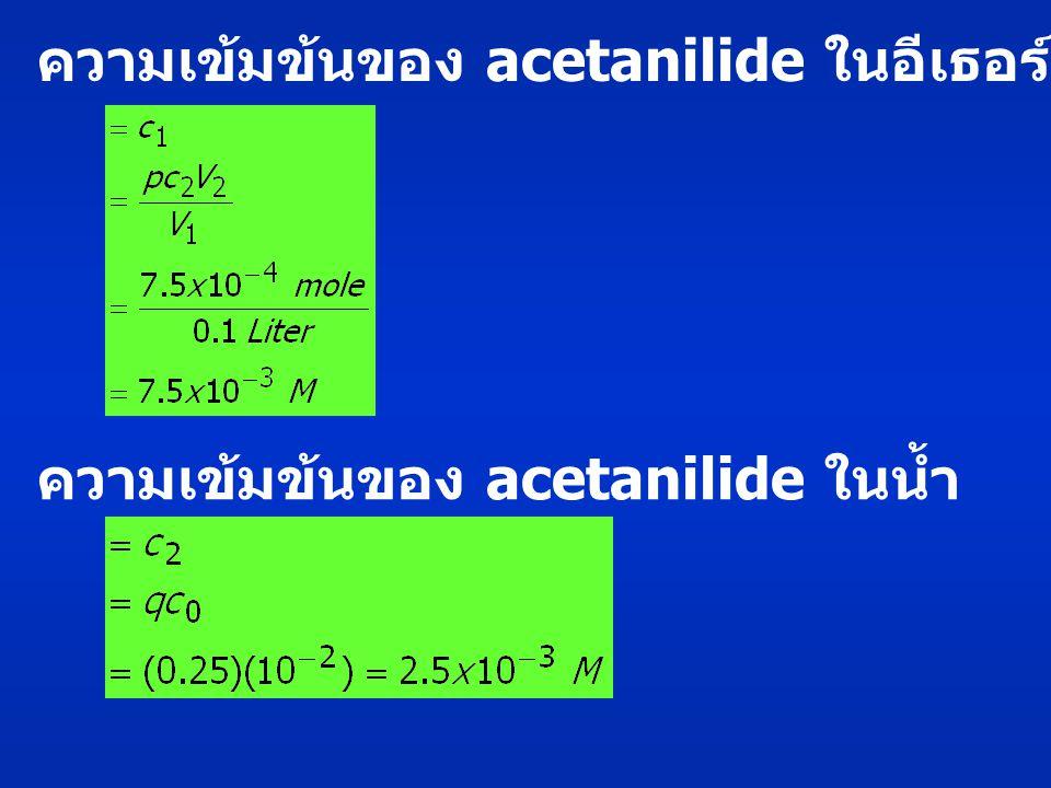 ความเข้มข้นของ acetanilide ในอีเธอร์ ความเข้มข้นของ acetanilide ในน้ำ