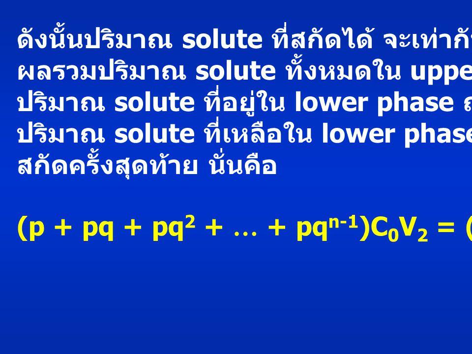 ดังนั้นปริมาณ solute ที่สกัดได้ จะเท่ากับ ผลรวมปริมาณ solute ทั้งหมดใน upper phase หรือ ปริมาณ solute ที่อยู่ใน lower phase ณ เริ่มต้นลบด้วย ปริมาณ solute ที่เหลือใน lower phase หลังจากการ สกัดครั้งสุดท้าย นั่นคือ (p + pq + pq 2 + … + pq n-1 )C 0 V 2 = (1-q n ) c 0 V 2 (18)