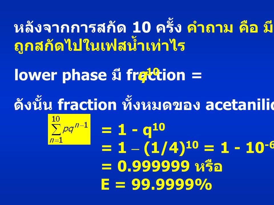 หลังจากการสกัด 10 ครั้ง คำถาม คือ มี acetanilide ถูกสกัดไปในเฟสน้ำเท่าไร lower phase มี fraction = q 10 ดังนั้น fraction ทั้งหมดของ acetanilide ที่ถูกสกัด : = 1 - q 10 = 1 – (1/4) 10 = 1 - 10 -6 = 0.999999 หรือ E = 99.9999%