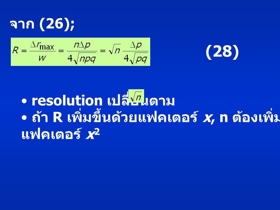 จาก (26); (28) resolution เปลี่ยนตาม ถ้า R เพิ่มขึ้นด้วยแฟคเตอร์ x, n ต้องเพิ่มขึ้นด้วย แฟคเตอร์ x 2