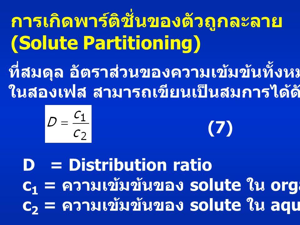 การเกิดพาร์ติชั่นของตัวถูกละลาย (Solute Partitioning) ที่สมดุล อัตราส่วนของความเข้มข้นทั้งหมดของ solute ในสองเฟส สามารถเขียนเป็นสมการได้ดังนี้ (7) D = Distribution ratio c 1 = ความเข้มข้นของ solute ใน organic phase c 2 = ความเข้มข้นของ solute ใน aqueous phase