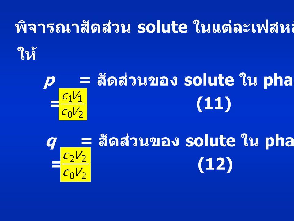 พิจารณาสัดส่วน solute ในแต่ละเฟสหลังสมดุล ให้ p = สัดส่วนของ solute ใน phase 1 หลังสมดุล = (11) q = สัดส่วนของ solute ใน phase 2 หลังสมดุล = (12)