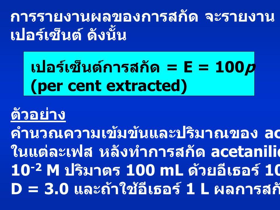 การรายงานผลของการสกัด จะรายงาน p ในรูป เปอร์เซ็นต์ ดังนั้น เปอร์เซ็นต์การสกัด = E = 100p(15) (per cent extracted) ตัวอย่าง คำนวณความเข้มข้นและปริมาณของ acetanilide ในแต่ละเฟส หลังทำการสกัด acetanilide เข้มข้น 10 -2 M ปริมาตร 100 mL ด้วยอีเธอร์ 100 mL กำหนด D = 3.0 และถ้าใช้อีเธอร์ 1 L ผลการสกัดจะเป็นอย่างไร