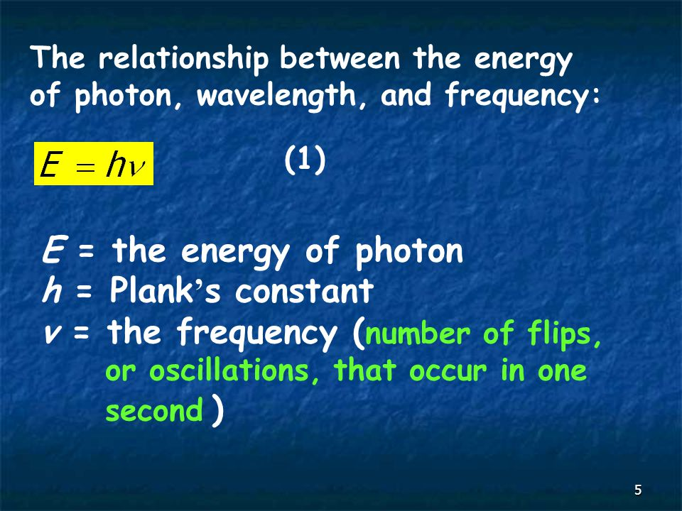 5 The relationship between the energy of photon, wavelength, and frequency: E = the energy of photon h = Plank ' s constant v = the frequency ( number of flips, or oscillations, that occur in one second ) (1)