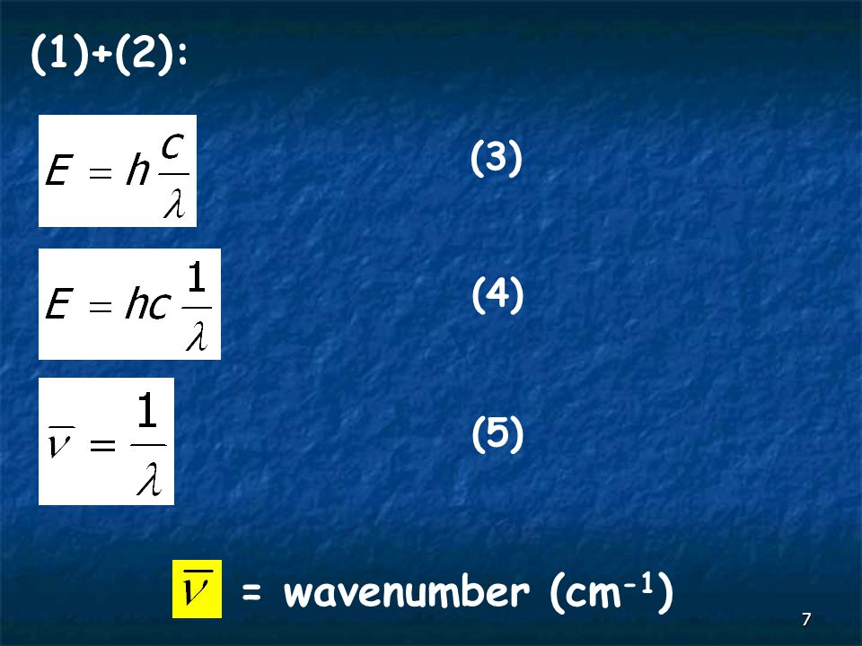 7 (1)+(2): (3) (4) = wavenumber (cm -1 ) (5)