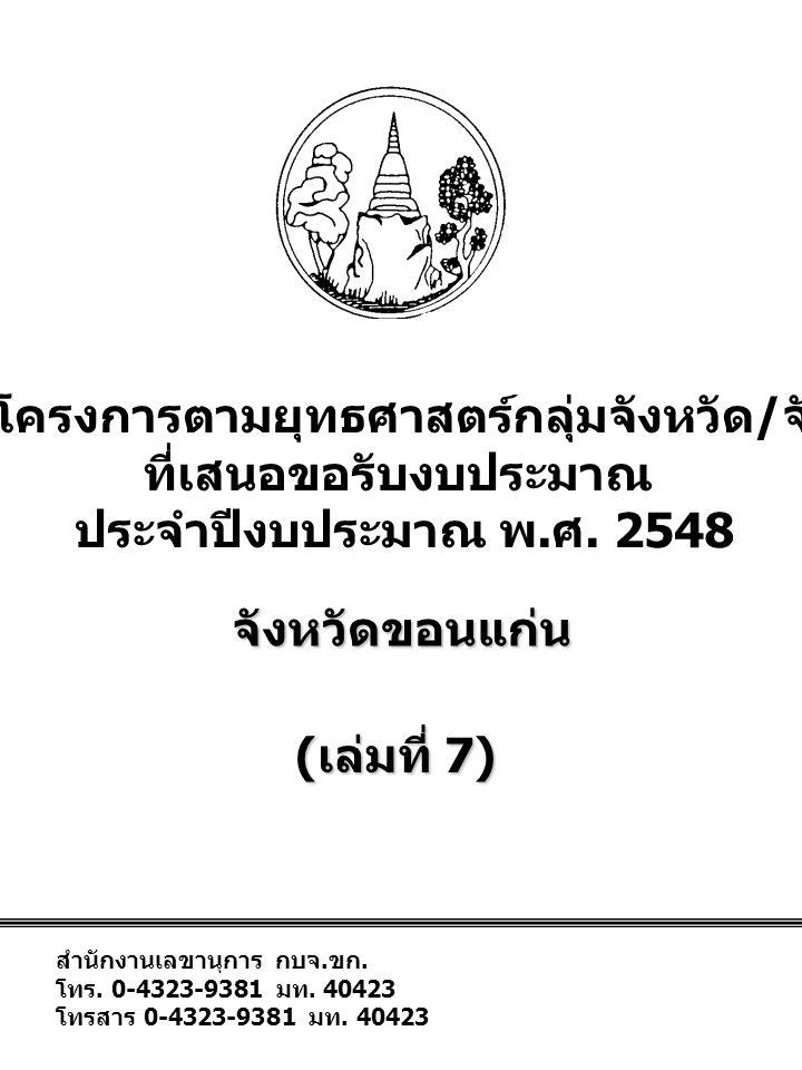 สำนักงานเลขานุการ กบจ. ขก. โทร. 0-4323-9381 มท.