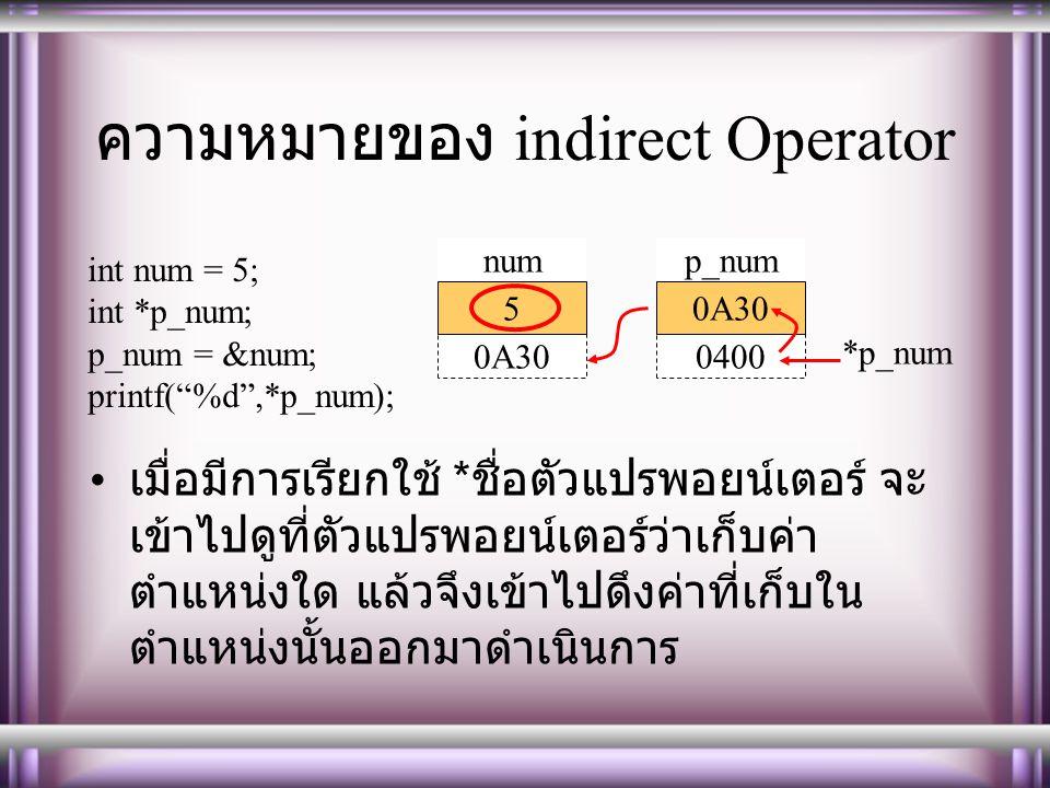 ความหมายของ indirect Operator เมื่อมีการเรียกใช้ * ชื่อตัวแปรพอยน์เตอร์ จะ เข้าไปดูที่ตัวแปรพอยน์เตอร์ว่าเก็บค่า ตำแหน่งใด แล้วจึงเข้าไปดึงค่าที่เก็บใน ตำแหน่งนั้นออกมาดำเนินการ 0A30 5 num 0400 0A30 p_num int num = 5; int *p_num; p_num = # printf( %d ,*p_num); *p_num