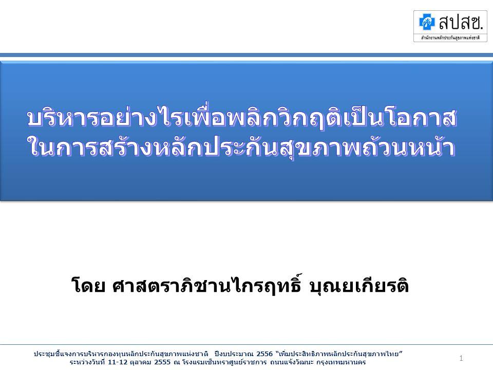 ประชุมชี้แจงการบริหารกองทุนหลักประกันสุขภาพแห่งชาติ ปีงบประมาณ 2556 เพิ่มประสิทธิภาพหลักประกันสุขภาพไทย ระหว่างวันที่ 11-12 ตุลาคม 2555 ณ โรงแรมเซ็นทราศูนย์ราชการ ถนนแจ้งวัฒนะ กรุงเทพมหานคร โดย ศาสตราภิชานไกรฤทธิ์ บุณยเกียรติ 1