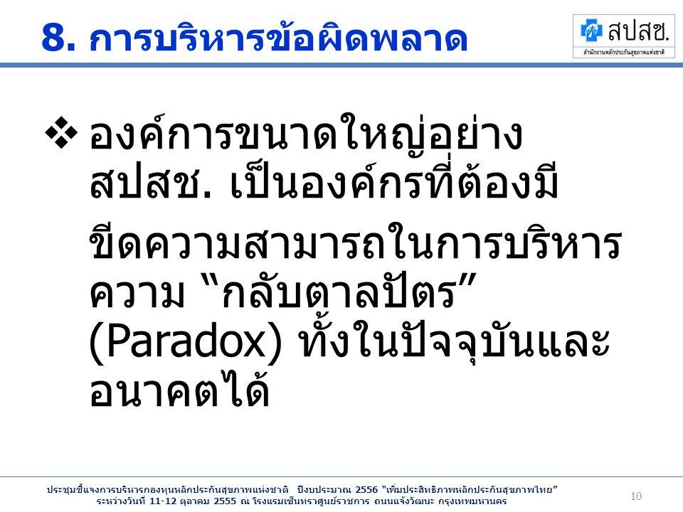 ประชุมชี้แจงการบริหารกองทุนหลักประกันสุขภาพแห่งชาติ ปีงบประมาณ 2556 เพิ่มประสิทธิภาพหลักประกันสุขภาพไทย ระหว่างวันที่ 11-12 ตุลาคม 2555 ณ โรงแรมเซ็นทราศูนย์ราชการ ถนนแจ้งวัฒนะ กรุงเทพมหานคร 8.