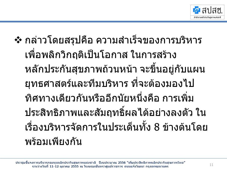 ประชุมชี้แจงการบริหารกองทุนหลักประกันสุขภาพแห่งชาติ ปีงบประมาณ 2556 เพิ่มประสิทธิภาพหลักประกันสุขภาพไทย ระหว่างวันที่ 11-12 ตุลาคม 2555 ณ โรงแรมเซ็นทราศูนย์ราชการ ถนนแจ้งวัฒนะ กรุงเทพมหานคร  กล่าวโดยสรุปคือ ความสำเร็จของการบริหาร เพื่อพลิกวิกฤติเป็นโอกาส ในการสร้าง หลักประกันสุขภาพถ้วนหน้า จะขึ้นอยู่กับแผน ยุทธศาสตร์และทีมบริหาร ที่จะต้องมองไป ทิศทางเดียวกันหรืออีกนัยหนึ่งคือ การเพิ่ม ประสิทธิภาพและสัมฤทธิ์ผลได้อย่างลงตัว ใน เรื่องบริหารจัดการในประเด็นทั้ง 8 ข้างต้นโดย พร้อมเพียงกัน 11