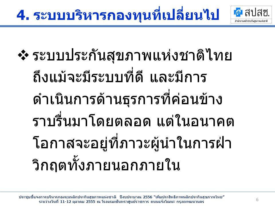 ประชุมชี้แจงการบริหารกองทุนหลักประกันสุขภาพแห่งชาติ ปีงบประมาณ 2556 เพิ่มประสิทธิภาพหลักประกันสุขภาพไทย ระหว่างวันที่ 11-12 ตุลาคม 2555 ณ โรงแรมเซ็นทราศูนย์ราชการ ถนนแจ้งวัฒนะ กรุงเทพมหานคร 4.