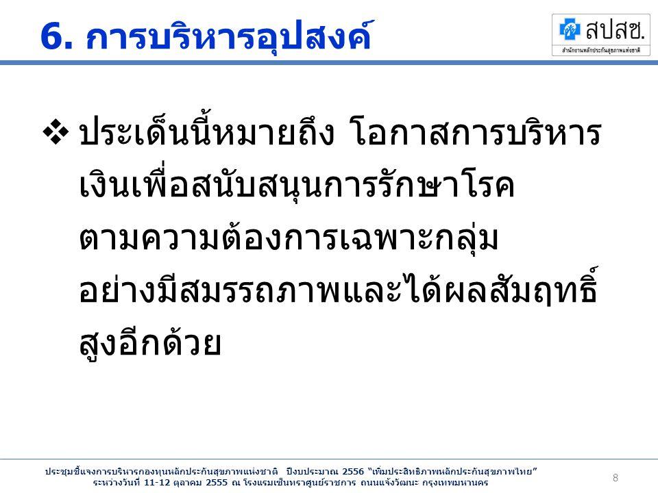 ประชุมชี้แจงการบริหารกองทุนหลักประกันสุขภาพแห่งชาติ ปีงบประมาณ 2556 เพิ่มประสิทธิภาพหลักประกันสุขภาพไทย ระหว่างวันที่ 11-12 ตุลาคม 2555 ณ โรงแรมเซ็นทราศูนย์ราชการ ถนนแจ้งวัฒนะ กรุงเทพมหานคร 6.