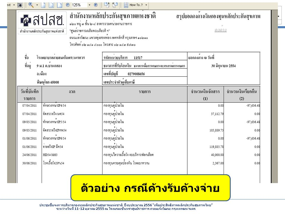 ประชุมชี้แจงการบริหารกองทุนหลักประกันสุขภาพแห่งชาติ ปีงบประมาณ 2556 เพิ่มประสิทธิภาพหลักประกันสุขภาพไทย ระหว่างวันที่ 11-12 ตุลาคม 2555 ณ โรงแรมเซ็นทราศูนย์ราชการ ถนนแจ้งวัฒนะ กรุงเทพมหานคร ตัวอย่าง กรณีค้างรับค้างจ่าย