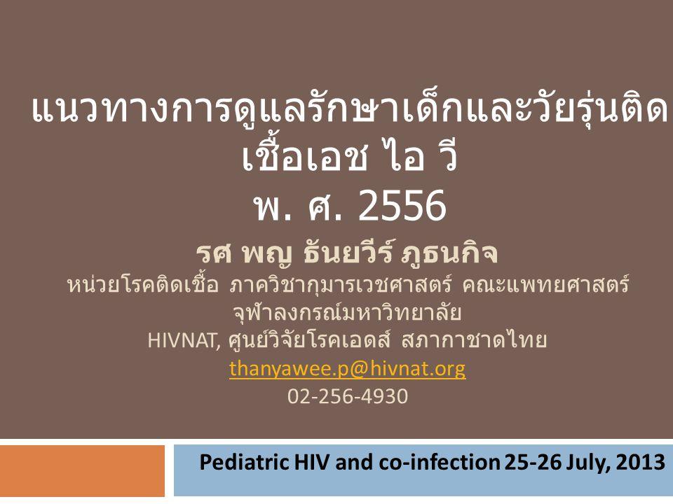 รศ พญ ธันยวีร์ ภูธนกิจ หน่วยโรคติดเชื้อ ภาควิชากุมารเวชศาสตร์ คณะแพทยศาสตร์ จุฬาลงกรณ์มหาวิทยาลัย HIVNAT, ศูนย์วิจัยโรคเอดส์ สภากาชาดไทย thanyawee.p@h