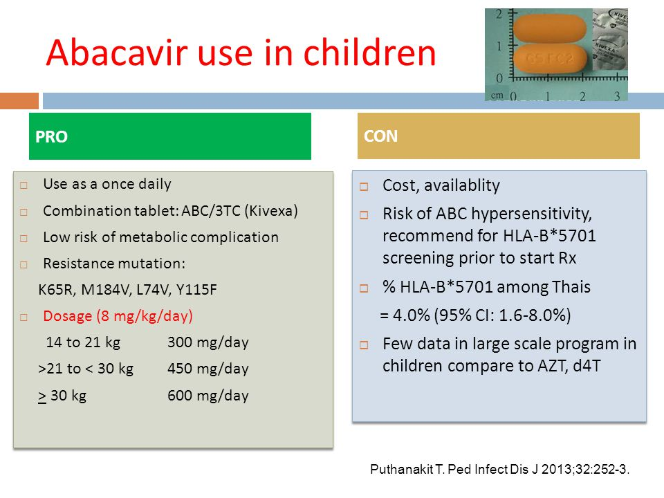 Abacavir use in children PRO  Use as a once daily  Combination tablet: ABC/3TC (Kivexa)  Low risk of metabolic complication  Resistance mutation: