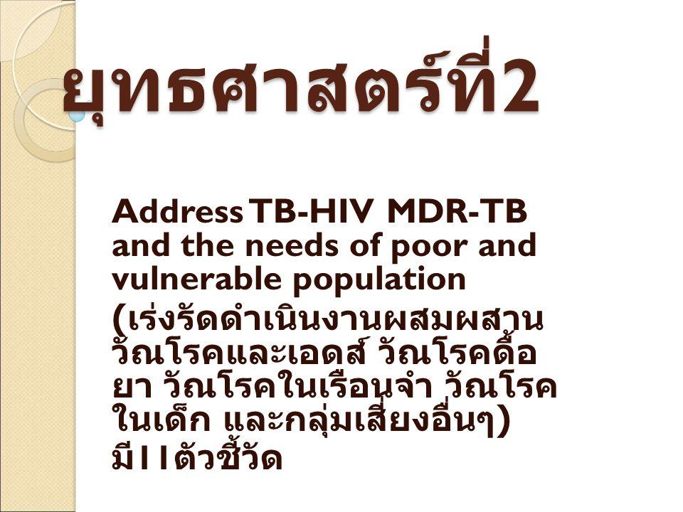 ยุทธศาสตร์ที่ 2 Address TB-HIV MDR-TB and the needs of poor and vulnerable population ( เร่งรัดดำเนินงานผสมผสาน วัณโรคและเอดส์ วัณโรคดื้อ ยา วัณโรคในเรือนจำ วัณโรค ในเด็ก และกลุ่มเสี่ยงอื่นๆ ) มี 11 ตัวชี้วัด