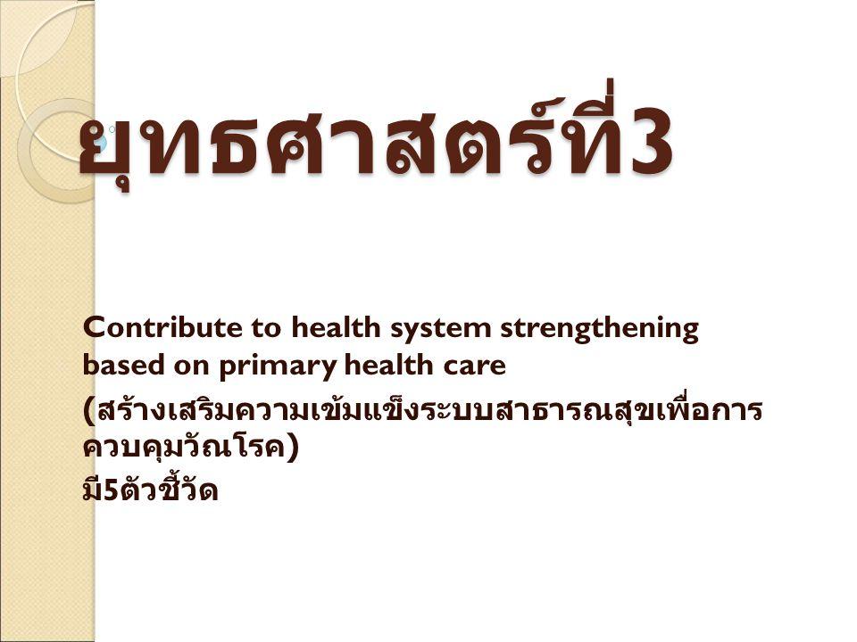 ยุทธศาสตร์ที่ 3 Contribute to health system strengthening based on primary health care ( สร้างเสริมความเข้มแข็งระบบสาธารณสุขเพื่อการ ควบคุมวัณโรค ) มี 5 ตัวชี้วัด