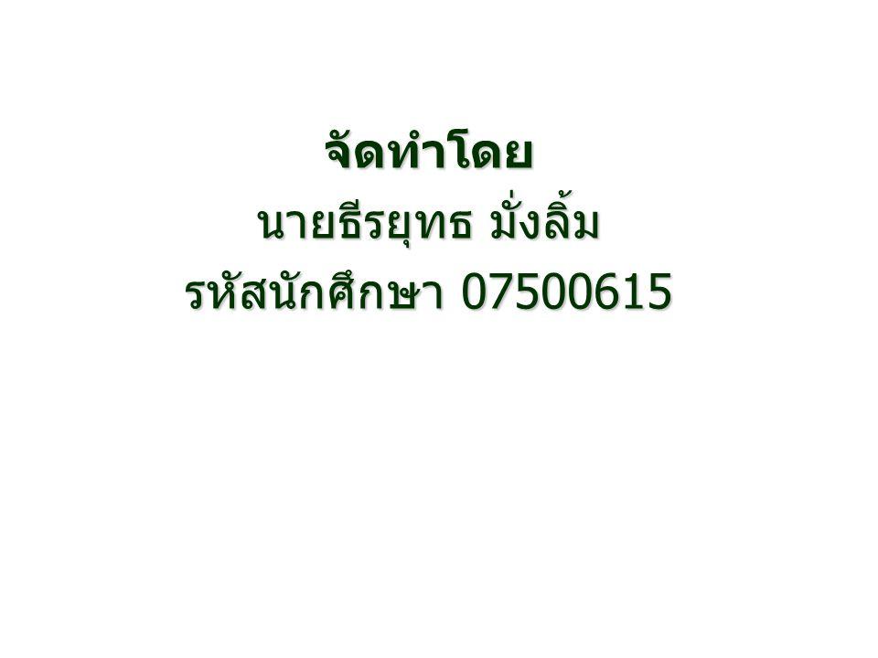 จัดทำโดย นายธีรยุทธ มั่งลิ้ม รหัสนักศึกษา 07500615