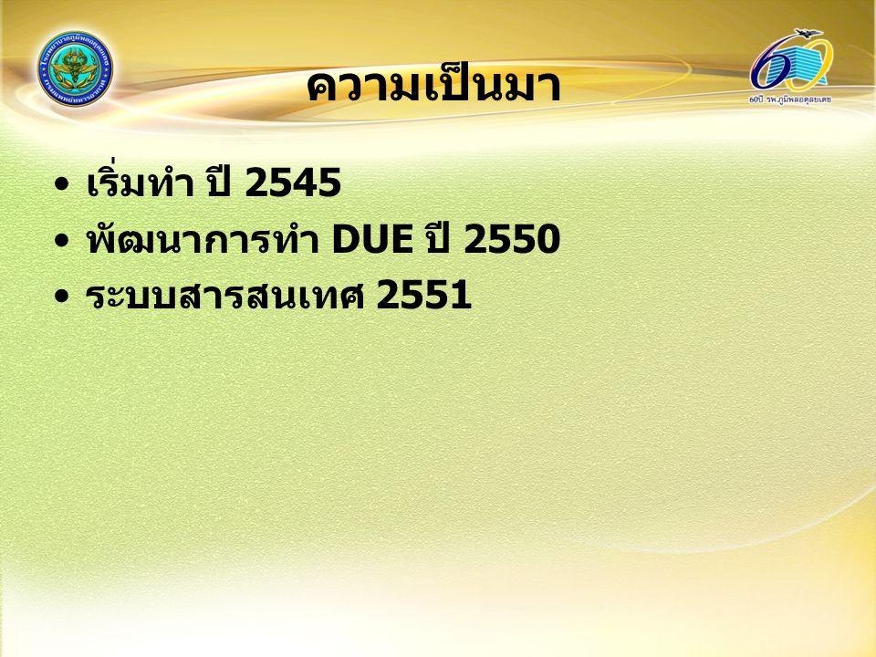 ความเป็นมา เริ่มทำ ปี 2545 พัฒนาการทำ DUE ปี 2550 ระบบสารสนเทศ 2551