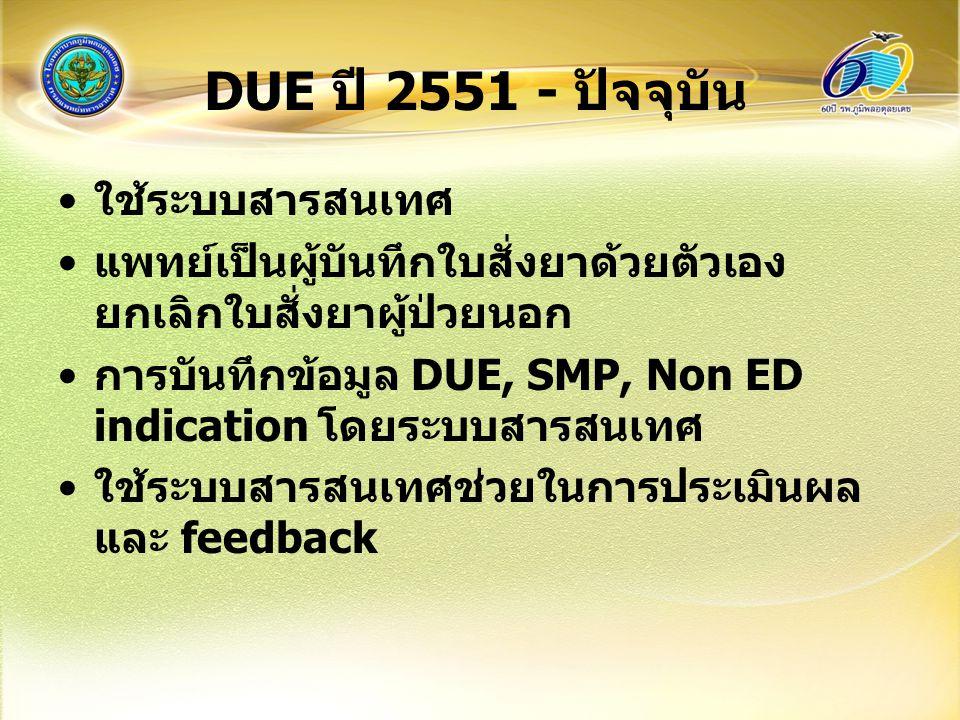DUE ปี 2551 - ปัจจุบัน ใช้ระบบสารสนเทศ แพทย์เป็นผู้บันทึกใบสั่งยาด้วยตัวเอง ยกเลิกใบสั่งยาผู้ป่วยนอก การบันทึกข้อมูล DUE, SMP, Non ED indication โดยระบบสารสนเทศ ใช้ระบบสารสนเทศช่วยในการประเมินผล และ feedback