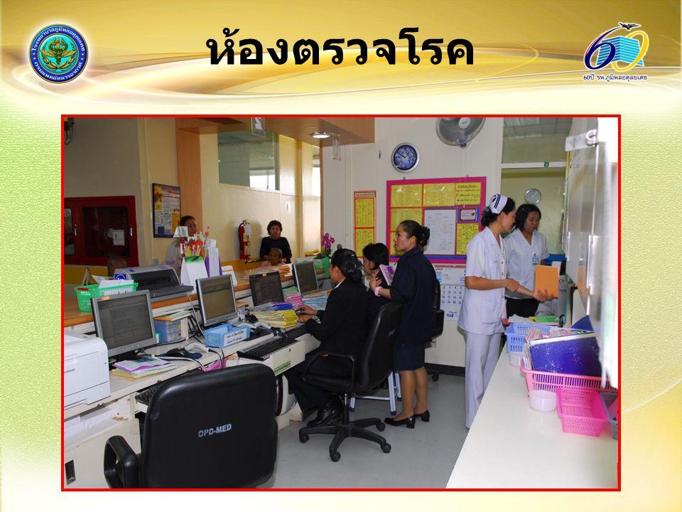 ห้องตรวจโรค (แพทย์) บันทึกประวัติ ตรวจ ร่างกาย วินิจฉัยโรค (ICD9 ICD10) สั่งยา การตรวจทาง ห้องปฏิบัติการ เอกซเรย์ นัดผู้ป่วย