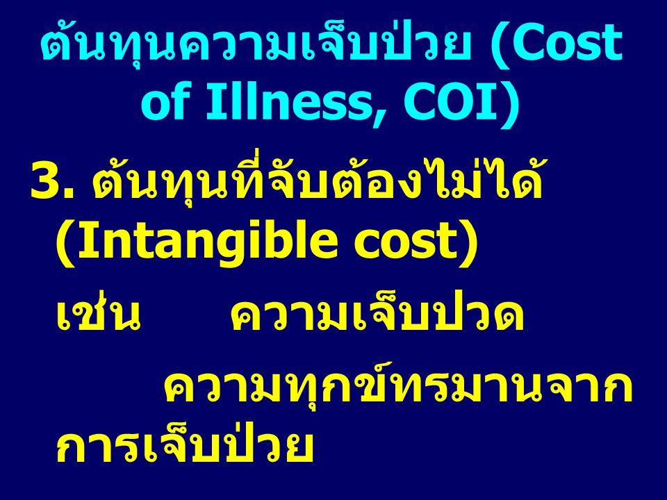 3. ต้นทุนที่จับต้องไม่ได้ (Intangible cost) เช่น ความเจ็บปวด ความทุกข์ทรมานจาก การเจ็บป่วย ต้นทุนความเจ็บป่วย (Cost of Illness, COI)
