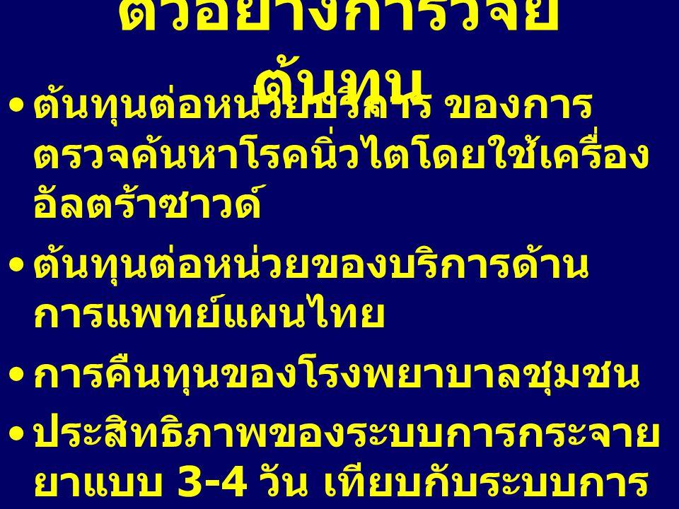 ตัวอย่างการวิจัย ต้นทุน ต้นทุนต่อหน่วยบริการ ของการ ตรวจค้นหาโรคนิ่วไตโดยใช้เครื่อง อัลตร้าซาวด์ ต้นทุนต่อหน่วยของบริการด้าน การแพทย์แผนไทย การคืนทุนข