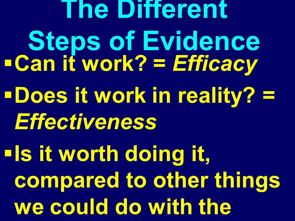 The Different Steps of Evidence  Can it work? = Efficacy  Does it work in reality? = Effectiveness Efficiency  Is it worth doing it, compared to ot