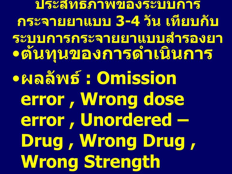ประสิทธิภาพของระบบการ กระจายยาแบบ 3-4 วัน เทียบกับ ระบบการกระจายยาแบบสำรองยา ต้นทุนของการดำเนินการ ผลลัพธ์ : Omission error, Wrong dose error, Unorder